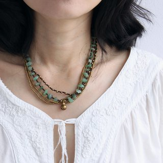 Jade Brass Layered Woven Stone Short Necklaces Hippy Bohemian Style Jewelry