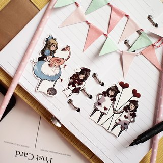 Mini Character Stickers Alice in Wonderland l Croquet Preparation Alice poker