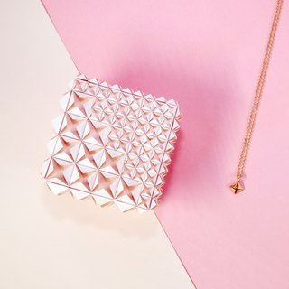 Unique Delicate Origami Pearly Pink Diamond Jewel Box