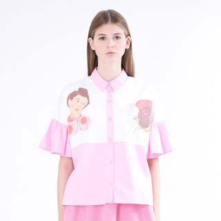 ZIZTAR Miss Two Big Heads Collar Ruffle Shirt