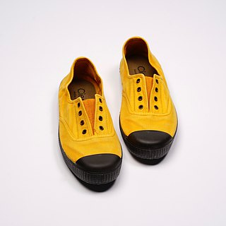 Spanish canvas shoes mustard yellow black head wash old fabric fragrant shoes can be washed U70777