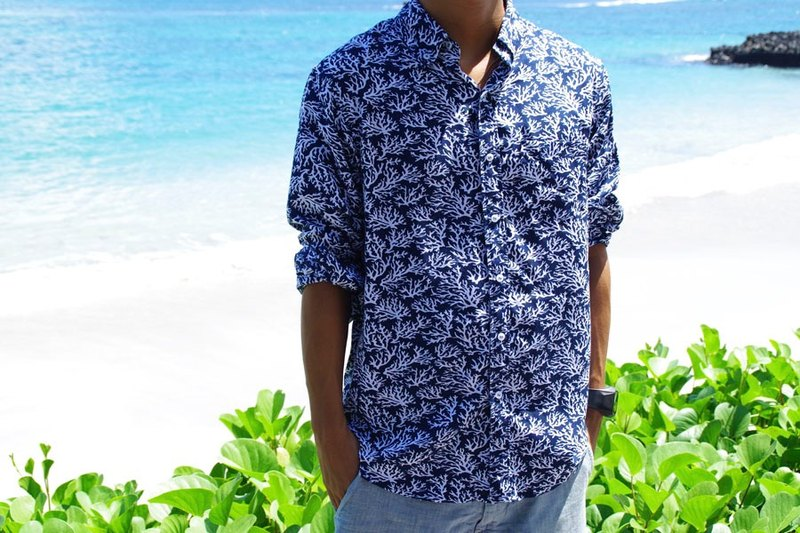 Adult Coral Pattern Men's Resort Print Shirt Coral Print Navy