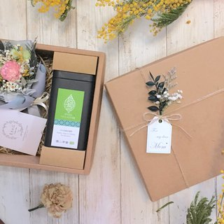 |Dear Mom|Mothers Day. Dry bouquet. Carnations. Organic tea leaves. Yushan Oolong. Gift box