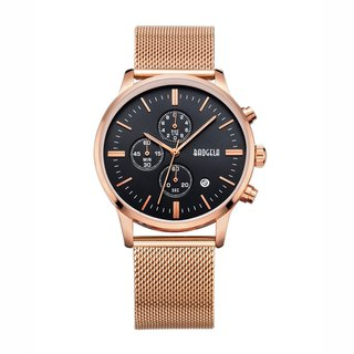 BAOGELA - STELVIO Rose Gold Black Dial / Milan Watch Adjustable Watch