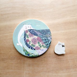 Cat green-Once / ceramic coaster