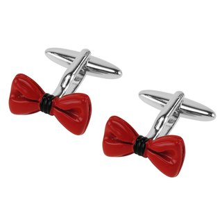 Red Enamel Bow Tie Cufflinks
