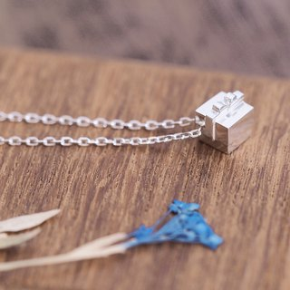 White Petit Gift Box Necklace Silver 925