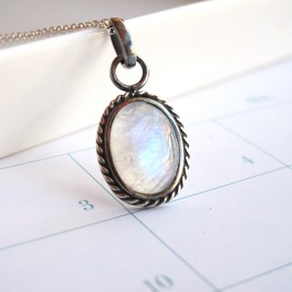 [One Moonlight - Blue Moon] Moonstone x 925 Silver Bag - Handmade Natural Stone Series