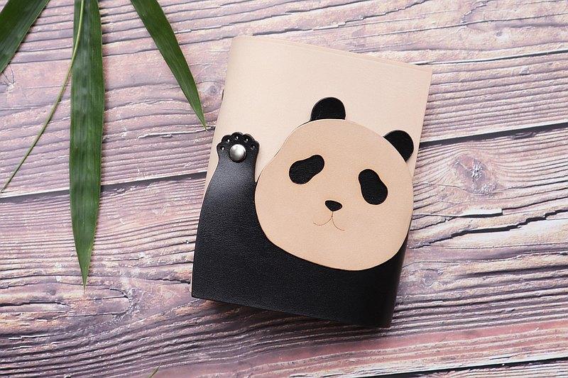 原創設計a567可愛熊貓招手造型panda隨身真皮手賬活頁筆記本