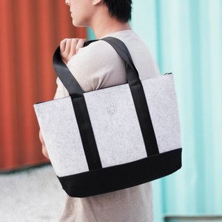 Tote-texture stone wool Tote bag - light gray (large section)