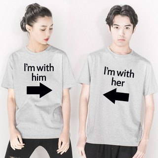 I'm with him(her) couple gray t shirt