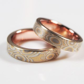 Element47 Jewelry studio~ Karat gold mokume gane wedding ring 18 (18KY/14KW/925/