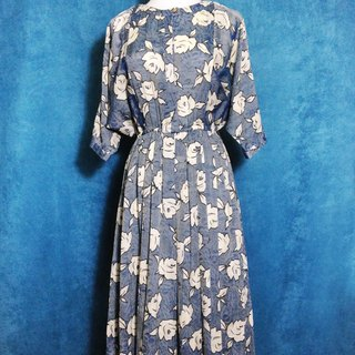 When vintage [antique dress / rose textured vintage fifth sleeve long dress] abroad back to vintage dress VINTAGE