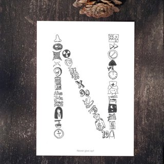 AZ English alphabet creative graffiti postcard <N>
