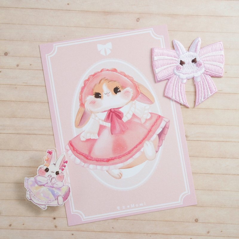 Pink dress floppy bunny * Dress Bunny Postcard