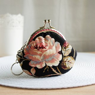 Lovely classical rose gold coin purse, black powder