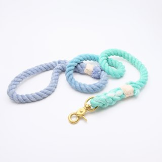 COTTON DOG LEASHES - BLUE/TURQOUISE