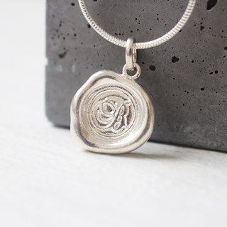 Initial Monogram B / Make a Mark Personalised 925 Silver Wax Seal Necklace
