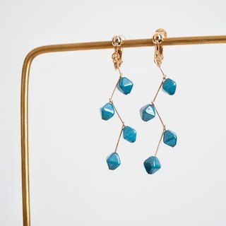 TeaTime (afternoon tea Imagination - Peacock blue style ear clip ear hooks