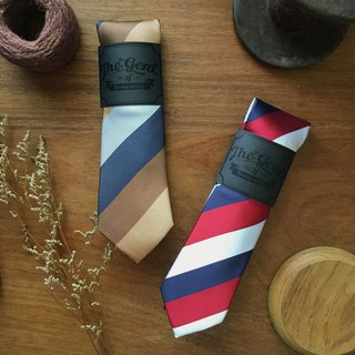 The GENT Colorful Stripe Neck tie (Brown/Blue/Navy/White/Red)