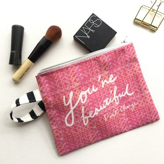 Boho Pouch Bag, Inspirational Quote Zipper Bag, Hand Lettering Modern Chic Cosmetic Bag, Gift For Her Under 20