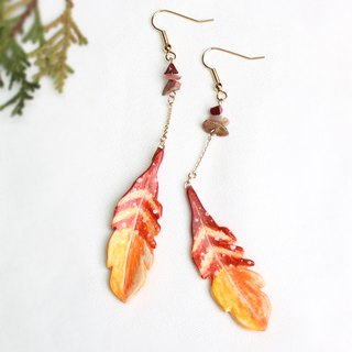 Handmade feather earrings (Red)