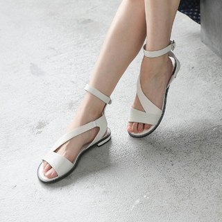 [Show products clear] elegant streamlined winding leather sandals beige