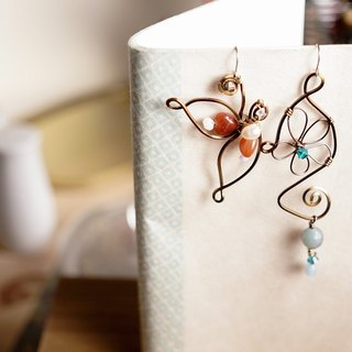 [Butterfly] hand made natural stone earrings (interchangeable clip-on)