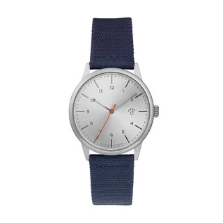 Rawiya Silver Dial - Blue Canvas X Honey Brown Leather Watch