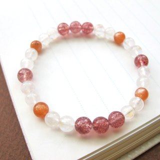[夕] Moonstone x Sunstone x Strawberry Crystal - Handmade Natural Stone Series