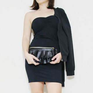 GENUINE LEATHER Mini Ruffled Waist Purse / Fanny Pack / Sling Bag / Clutch Bag