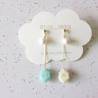 Candy Macaron Series - Vanilla Lemon Macarons Draped Two Handmade Earrings Ears/Ear clips