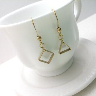 Brass earrings hollow box triangle frame asymmetric ear hook