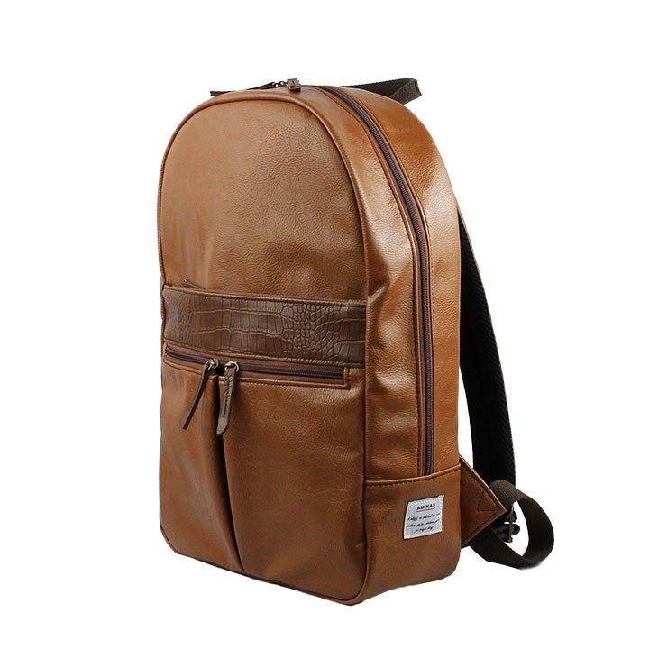 AMINAH-棕色正氣皮革後背包【am-0309】