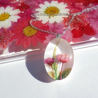Resin Necklace. Resin Jewelry with Pressed Flowers.Handmade Resin Jewelry, Pink flower necklace