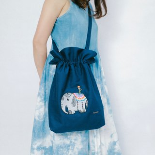 Cotton Canvas Denim Embroidery Totebag - Elephant And Cactus Daddy