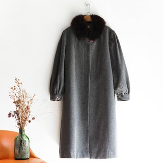 River Water Hill - Shizuoka Deep Gray European Style House Peng Peng Sheep Antique Woolen Coat Jacket Wool Mao Mao Gu Mao wool vintage overcoat