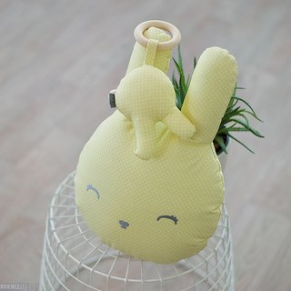 Yellow bunny pillow and teething ring