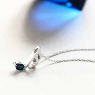 Sapphire Music note sixteenth note necklace silver 925