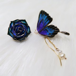 Miss Paranoid Paranoia Rose and Peacock Blue Purple Swallowtail Butterfly Resin Earrings