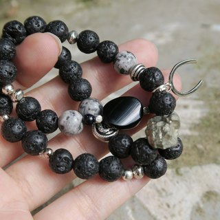 [Spirituality • Small hand material] • Positive energy • Horse hoof / (Pyrite) Raw ore / black agate / volcanic stone / natural stone / (Tibetan silver) trim / beads • Neutral / male and female double rings bracelet neutral gift