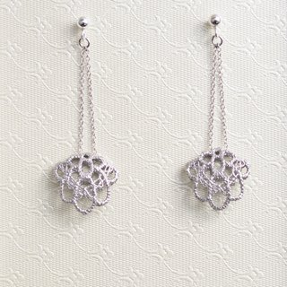 Lace hollow three-dimensional shell shape earrings handmade 925 sterling silver drape needle type