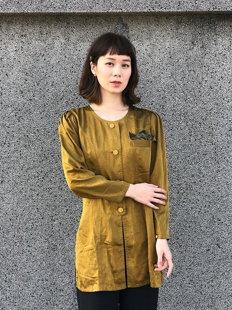 黃綠色絲質長版襯衫