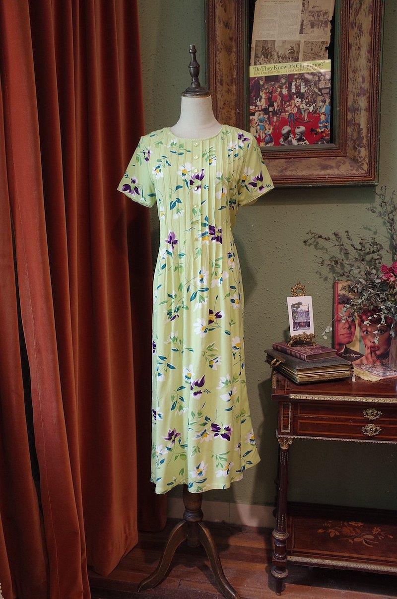 vintage草綠色印花連衣裙古著洋裝