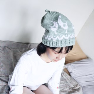 RedCheeks Wool Hat Cap | Yarn Hat | Bird Christmas - Green Mint Color - หมวกไหมพรม
