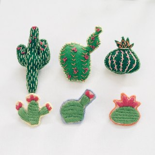 Cactus hand embroidery brooches