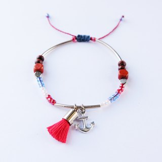 Anchor nautical red tassel string bracelet