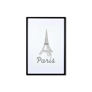 HomePlus Decorative Frame -  GREY Eiffel Tower - Black frame 63x43cm Homedecor