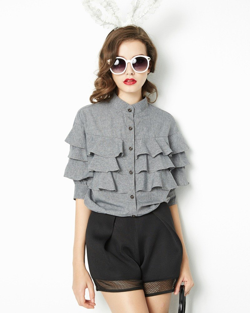 Multi-level lotus leaf shirt Layered Blouse with Stand-up Collar