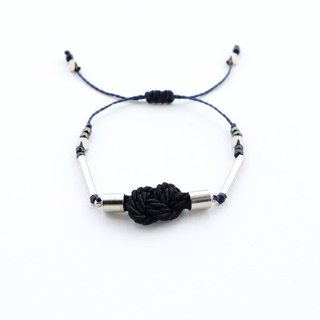 Infinity knot twisted rope in black adjustable bracelet